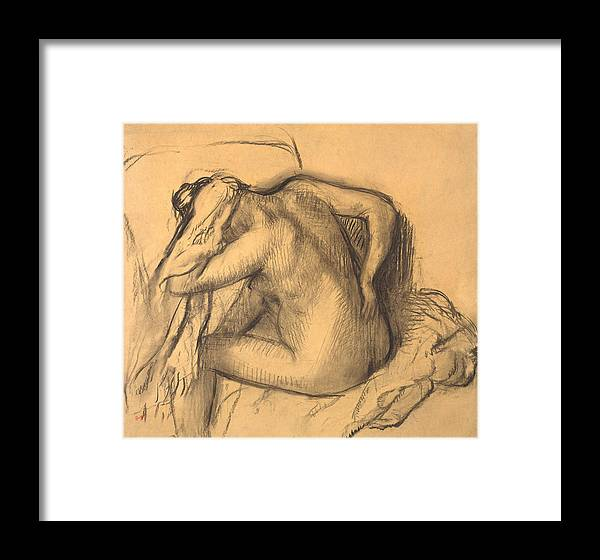Edgar Degas Framed Print featuring the drawing After The Bath .woman Drying Her Hair by Edgar Degas