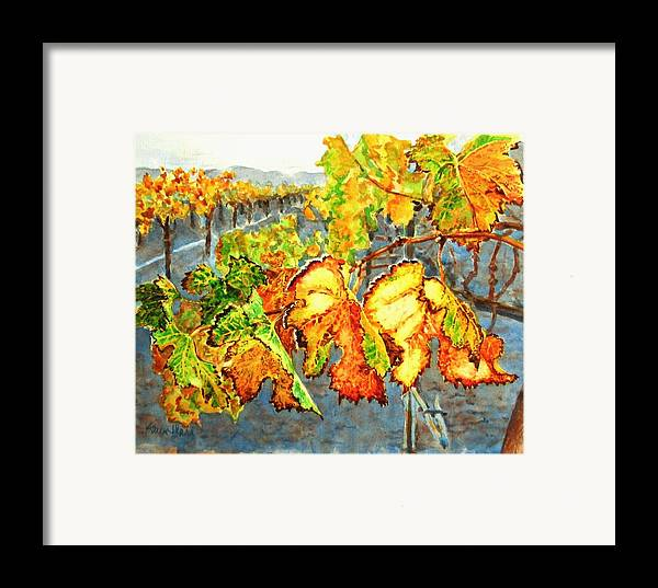 Vineyard Framed Print featuring the painting After The Harvest by Karen Ilari