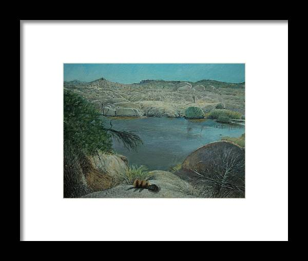 Landscape Of Joshua Tree National Park Water Hole. Framed Print featuring the painting After The Rains On Live Oak Trail by Sandra Lytch