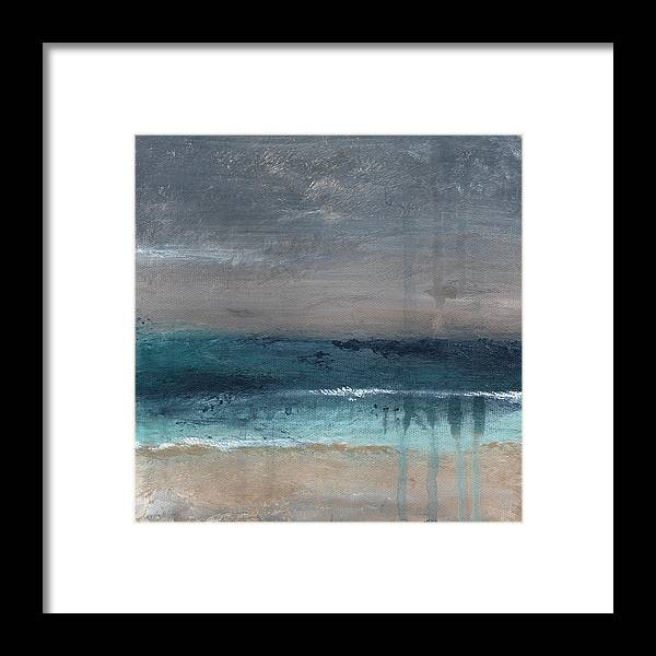Abstract Landscape Framed Print featuring the painting After The Storm- Abstract Beach Landscape by Linda Woods