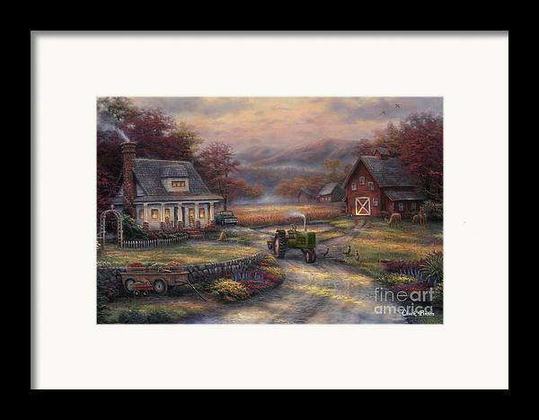 Tractor Framed Print featuring the painting Afternoon Harvest by Chuck Pinson