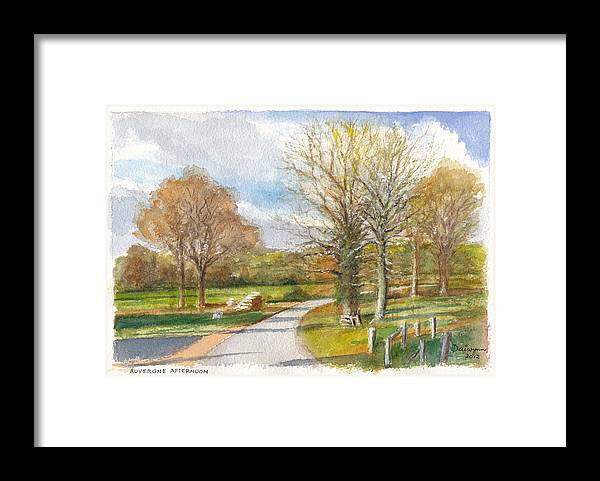France Framed Print featuring the painting Afternoon In The Auvergne Countryside In Central France by Dai Wynn