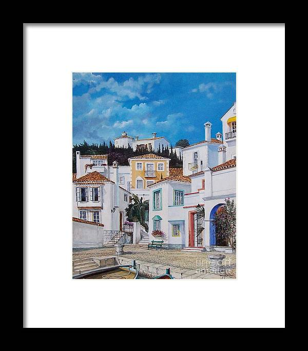 Cityscape Framed Print featuring the painting Afternoon Light In Montenegro by Sinisa Saratlic