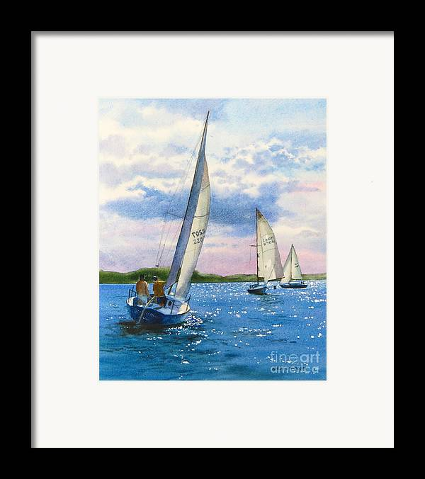 Clouds Framed Print featuring the painting Afternoon Sail by Karol Wyckoff