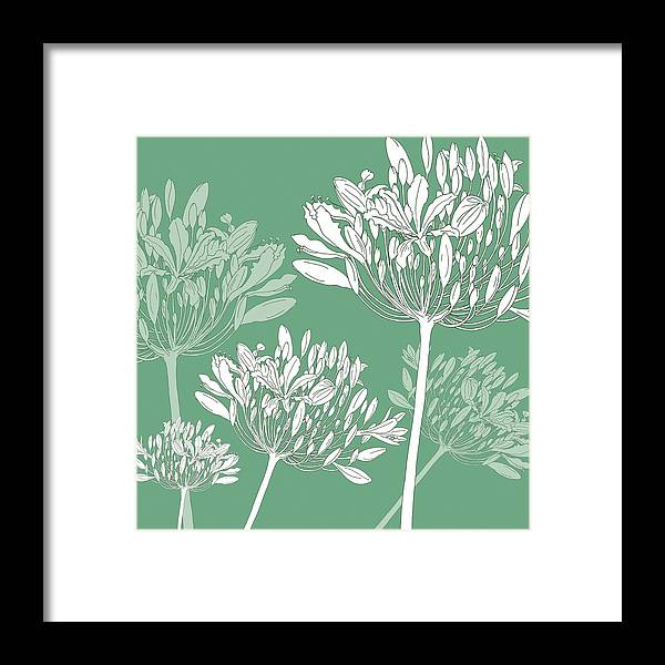 Agapanthus Framed Print featuring the painting Agapanthus Breeze by Sarah Hough