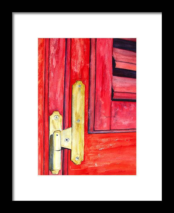 Window Shutter Framed Print featuring the painting Aged Window Shutter Hinge by Carlin Blahnik CarlinArtWatercolor