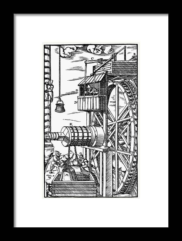 1556 Framed Print featuring the painting Agricola Waterwheel, 1556 by Granger