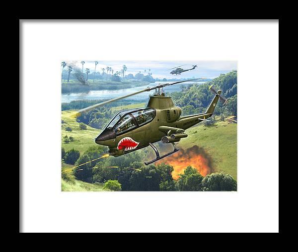 Ah-1 Framed Print featuring the digital art AH-1G Huey Cobra  The Cobras Venom by Stu Shepherd