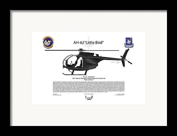 Helicopter Framed Print featuring the digital art Ah-6j Little Bird by Arthur Eggers