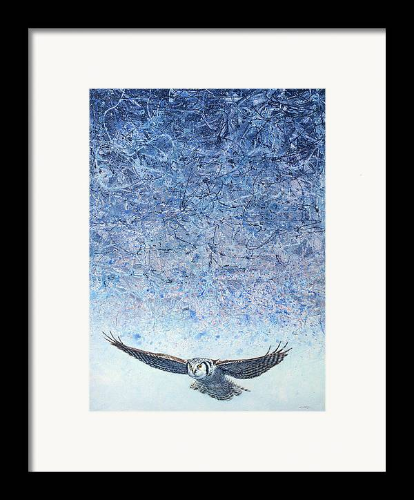 Owl Framed Print featuring the painting Ahead Of The Storm by James W Johnson