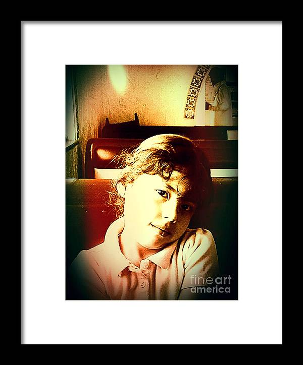 Vintage Framed Print featuring the digital art Aimee by Jose Benavides