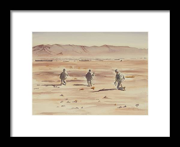 Military Art Framed Print featuring the painting Air Assault Insertion by Martin Cervantez