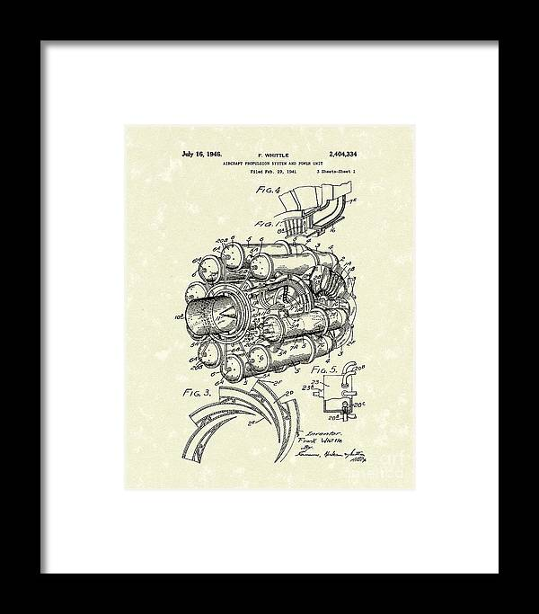 Whittle Framed Print featuring the drawing Aircraft Propulsion 1946 Patent Art by Prior Art Design