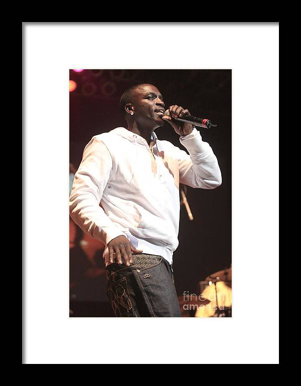 Rapper Framed Print featuring the photograph Akon by Concert Photos