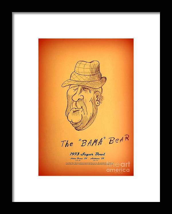 Nick Framed Print featuring the drawing Alabama's Bear Bryant by Greg Moores
