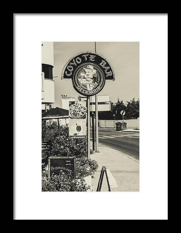 Street Framed Print featuring the photograph Albufeira Street Series - Coyote Bar I by Marco Oliveira