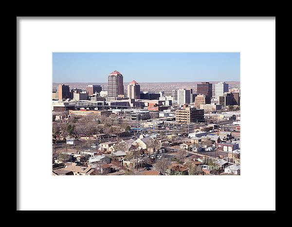Aerial Framed Print featuring the photograph Albuquerque Skyline by Bill Cobb