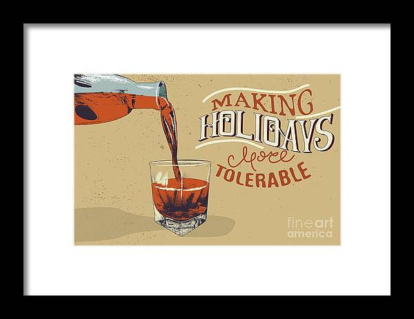 Tipple Framed Print featuring the digital art Alcoholic Drink Is Poured From Bottle by Dimonika