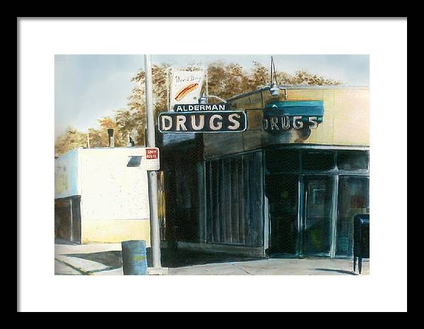 Urban Framed Print featuring the painting Alderman Drugs by William Brody