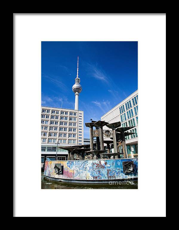 Berlin Framed Print featuring the photograph Alexanderplatz View On Television Tower Berlin Germany by Michal Bednarek