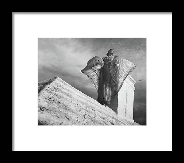 Exterior Framed Print featuring the photograph Alice-leone Moats Wearing A Striped Dress by Horst P. Horst