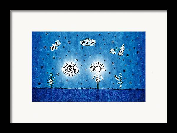 Abstract Framed Print featuring the drawing Alien Blue by Gianfranco Weiss