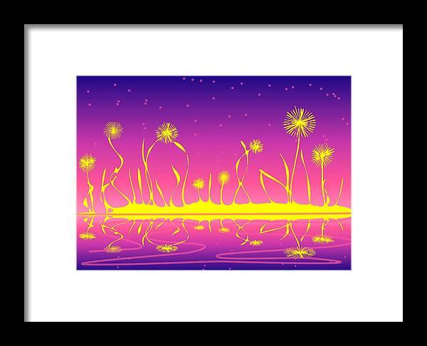 Malakhova Framed Print featuring the digital art Alien Fire Flowers by Anastasiya Malakhova