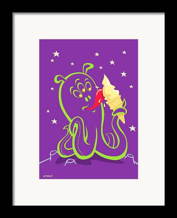 Alien Planet Framed Print featuring the digital art Alien Ice Cream -vector Version by Martin Davey