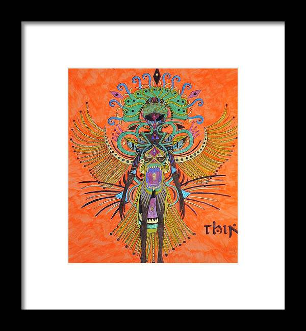 Alien Framed Print featuring the painting Alien With Thing by Michael Pasko