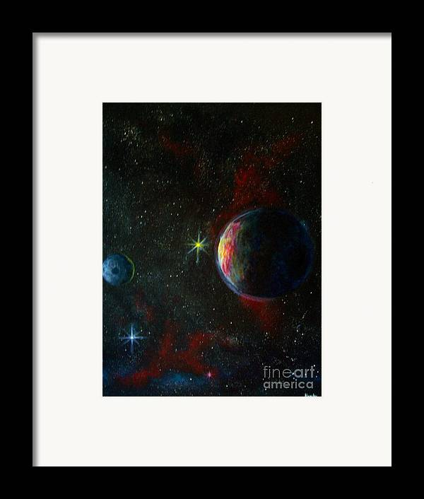 Cosmos Framed Print featuring the painting Alien Worlds by Murphy Elliott