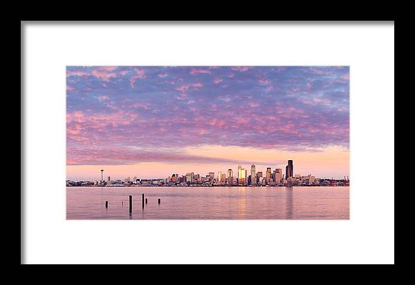Alki Framed Print featuring the photograph Alki Beach Pink Sunset by Thorsten Scheuermann