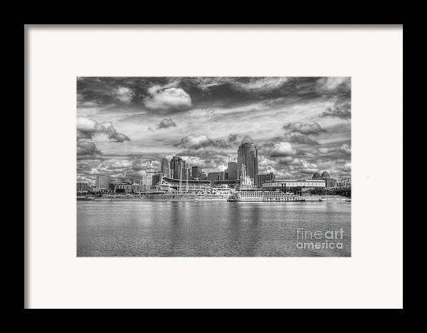 Cincinnati Framed Print featuring the photograph All American City 2 Bw by Mel Steinhauer