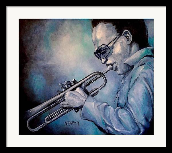 Glecee Limited Edition Print Of Miles Davis Framed Print featuring the painting All Blue Print by Lloyd DeBerry