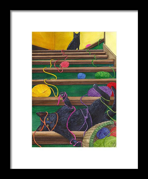 Cat Framed Print featuring the painting All Caught Up by Catherine G McElroy