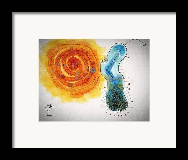 Abstract Framed Print featuring the drawing All Thoughts Are Prey To Some Beast by Paul Petroniu