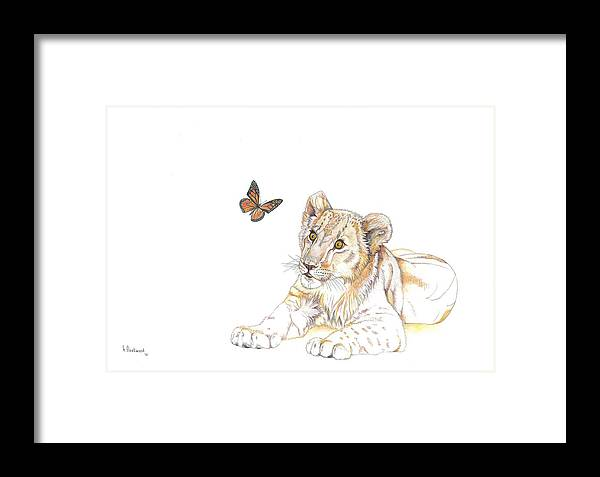Lion Framed Print featuring the painting All Wide-eyed by Helen Fleetwood