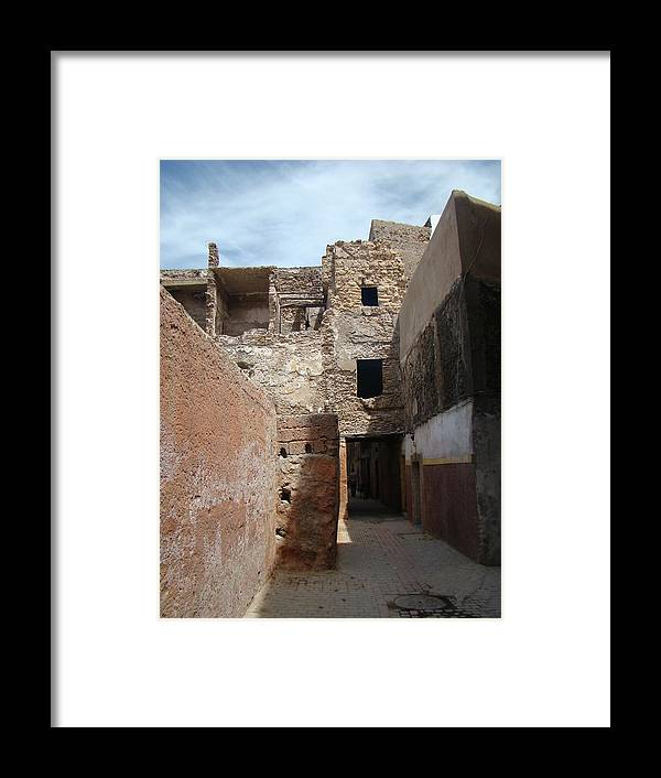 Morocco Framed Print featuring the photograph Alleyway Morocco by Karen j Kobrin Cohen