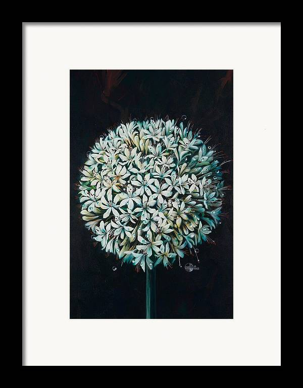 Flower Framed Print featuring the painting Allium by Lynette Yencho
