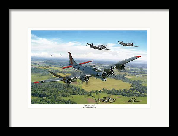 Airplane Framed Print featuring the painting Almost Home B-17 Flying Fortress by Mark Karvon