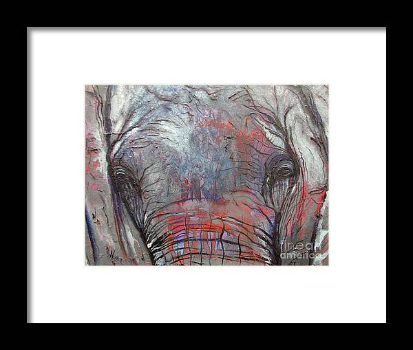 Elephant Framed Print featuring the painting Alone by Aimee Vance