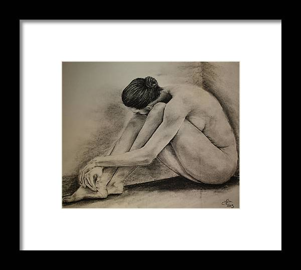 Female Framed Print featuring the drawing Alone And Cornered by Tim Brandt