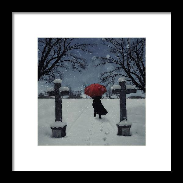 Woman Framed Print featuring the photograph Alone In The Snow by Joana Kruse