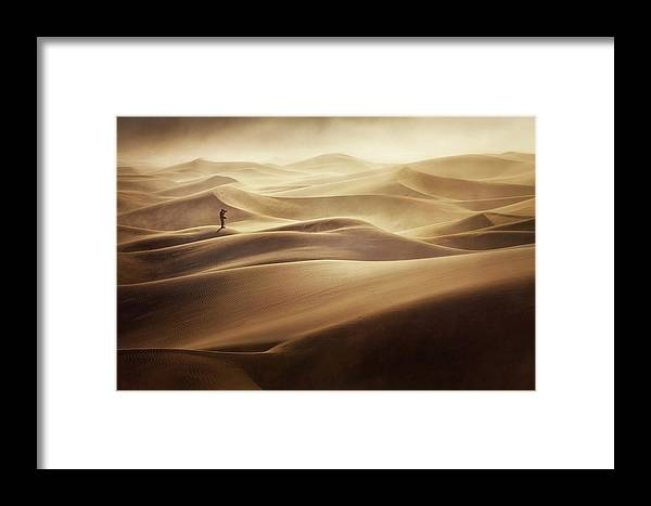 Desert Framed Print featuring the photograph Alone by Mirko Vecernik
