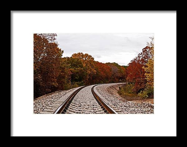 Julie Clements Framed Print featuring the photograph Along The Rails by Julie Clements