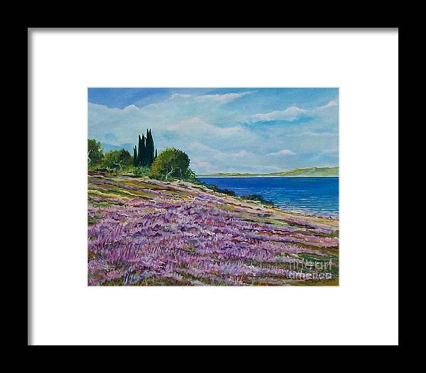 Landscape Framed Print featuring the painting Along The Shore by Sinisa Saratlic
