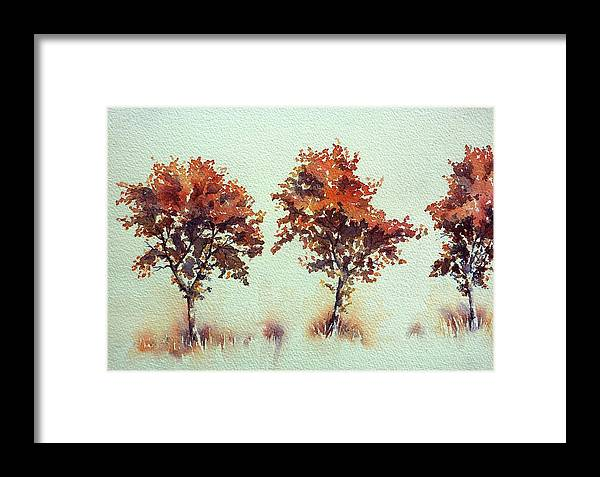 Autumn Framed Print featuring the painting Along The Way by Thomas Habermann