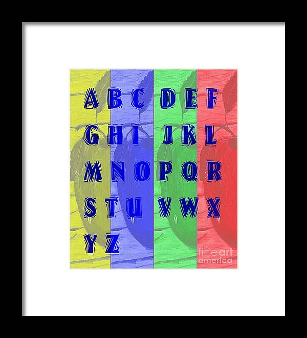 Alphabet With Apples Framed Print featuring the digital art Alphabet With Apples by Barbara Griffin