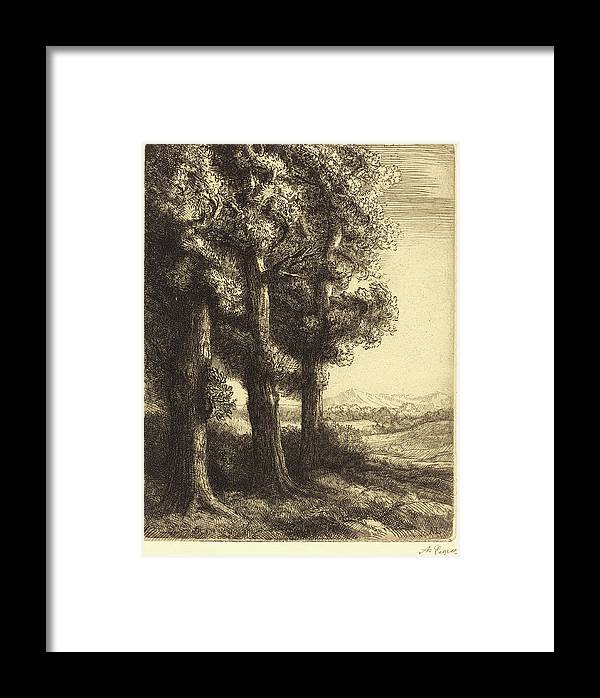 Alphonse Framed Print featuring the drawing Alphonse Legros, Corner Of A Wood Coin Dun Bois by Quint Lox