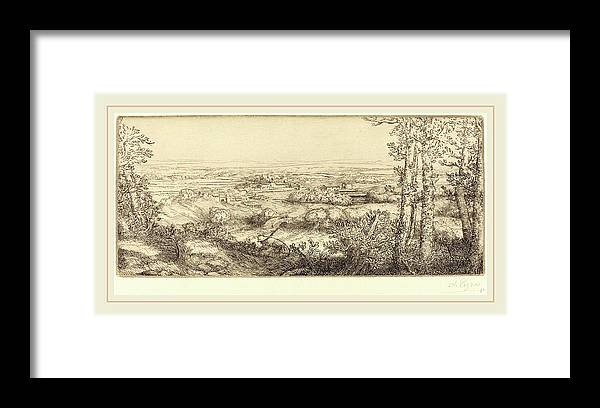 Alphonse Legros Framed Print featuring the drawing Alphonse Legros, Valley In Bourgogne Une Vallee En Bourgogne by Litz Collection