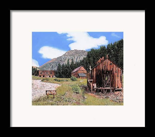 Ghost Town Framed Print featuring the painting Alta In Colorado by Guido Borelli